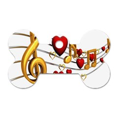 Music Notes Heart Beat Dog Tag Bone (two Sides) by Mariart