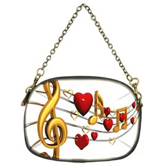 Music Notes Heart Beat Chain Purses (two Sides)  by Mariart