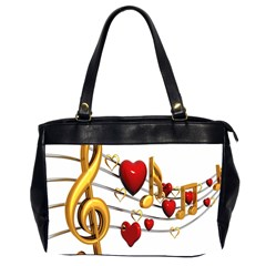 Music Notes Heart Beat Office Handbags (2 Sides)  by Mariart