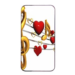 Music Notes Heart Beat Apple Iphone 4/4s Seamless Case (black) by Mariart