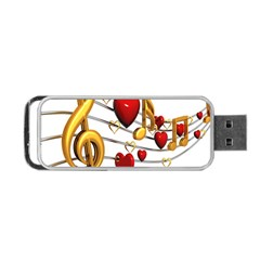 Music Notes Heart Beat Portable Usb Flash (two Sides) by Mariart