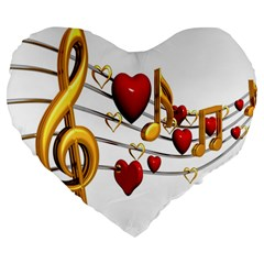Music Notes Heart Beat Large 19  Premium Heart Shape Cushions by Mariart