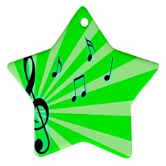 Music Notes Light Line Green Ornament (star) by Mariart