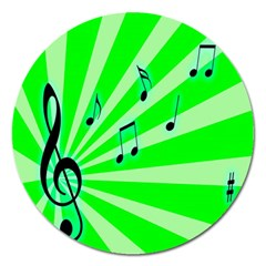 Music Notes Light Line Green Magnet 5  (round) by Mariart