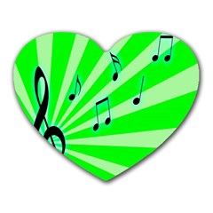 Music Notes Light Line Green Heart Mousepads by Mariart