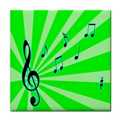 Music Notes Light Line Green Face Towel by Mariart