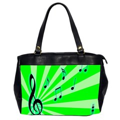 Music Notes Light Line Green Office Handbags (2 Sides)  by Mariart