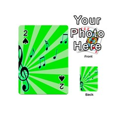 Music Notes Light Line Green Playing Cards 54 (mini)  by Mariart