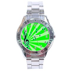 Music Notes Light Line Green Stainless Steel Analogue Watch by Mariart