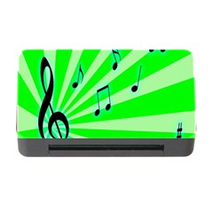 Music Notes Light Line Green Memory Card Reader With Cf by Mariart