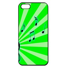Music Notes Light Line Green Apple Iphone 5 Seamless Case (black) by Mariart
