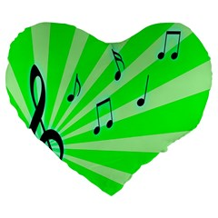 Music Notes Light Line Green Large 19  Premium Heart Shape Cushions by Mariart