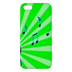 Music Notes Light Line Green Apple Iphone 5 Premium Hardshell Case by Mariart