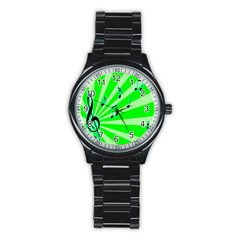 Music Notes Light Line Green Stainless Steel Round Watch by Mariart