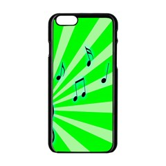 Music Notes Light Line Green Apple Iphone 6/6s Black Enamel Case by Mariart