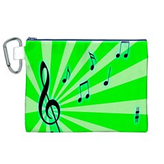 Music Notes Light Line Green Canvas Cosmetic Bag (xl) by Mariart