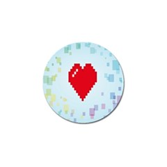 Red Heart Love Plaid Red Blue Golf Ball Marker by Mariart