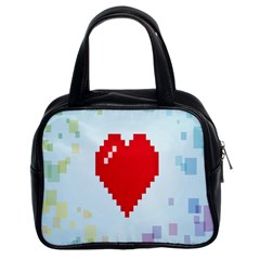Red Heart Love Plaid Red Blue Classic Handbags (2 Sides) by Mariart