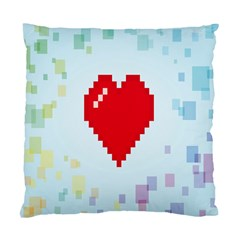 Red Heart Love Plaid Red Blue Standard Cushion Case (one Side) by Mariart
