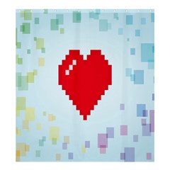 Red Heart Love Plaid Red Blue Shower Curtain 66  X 72  (large)  by Mariart