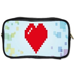 Red Heart Love Plaid Red Blue Toiletries Bags 2 Side
