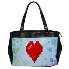 Red Heart Love Plaid Red Blue Office Handbags by Mariart