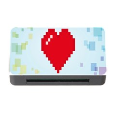 Red Heart Love Plaid Red Blue Memory Card Reader With Cf by Mariart