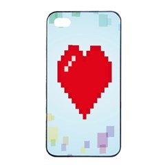 Red Heart Love Plaid Red Blue Apple Iphone 4/4s Seamless Case (black) by Mariart