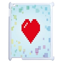 Red Heart Love Plaid Red Blue Apple Ipad 2 Case (white) by Mariart