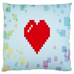 Red Heart Love Plaid Red Blue Large Cushion Case (two Sides) by Mariart