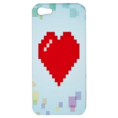 Red Heart Love Plaid Red Blue Apple Iphone 5 Hardshell Case by Mariart