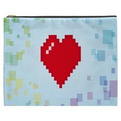 Red Heart Love Plaid Red Blue Cosmetic Bag (xxxl)  by Mariart