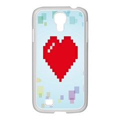 Red Heart Love Plaid Red Blue Samsung Galaxy S4 I9500/ I9505 Case (white) by Mariart