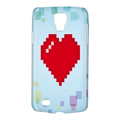 Red Heart Love Plaid Red Blue Galaxy S4 Active by Mariart