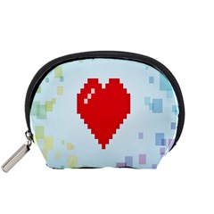 Red Heart Love Plaid Red Blue Accessory Pouches (small)  by Mariart