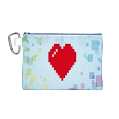 Red Heart Love Plaid Red Blue Canvas Cosmetic Bag (m) by Mariart