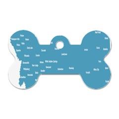 Peta Anggota City Blue Eropa Dog Tag Bone (one Side) by Mariart