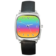 Plaid Rainbow Retina Green Purple Red Yellow Square Metal Watch by Mariart
