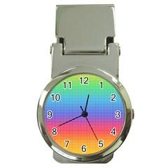 Plaid Rainbow Retina Green Purple Red Yellow Money Clip Watches