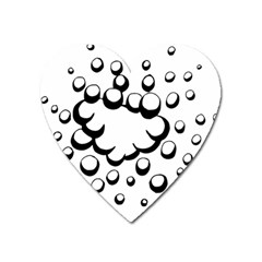 Splash Bubble Black White Polka Circle Heart Magnet by Mariart