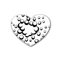 Splash Bubble Black White Polka Circle Rubber Coaster (heart)  by Mariart