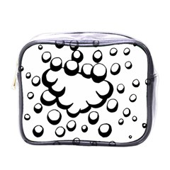 Splash Bubble Black White Polka Circle Mini Toiletries Bags by Mariart