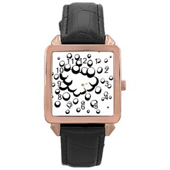 Splash Bubble Black White Polka Circle Rose Gold Leather Watch  by Mariart
