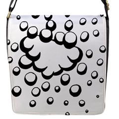 Splash Bubble Black White Polka Circle Flap Messenger Bag (s) by Mariart