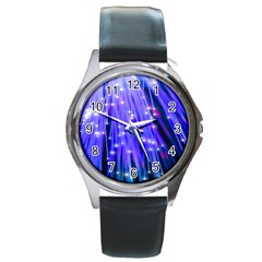 Neon Light Line Vertical Blue Round Metal Watch by Mariart