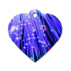 Neon Light Line Vertical Blue Dog Tag Heart (one Side) by Mariart