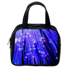 Neon Light Line Vertical Blue Classic Handbags (one Side) by Mariart