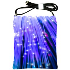 Neon Light Line Vertical Blue Shoulder Sling Bags by Mariart
