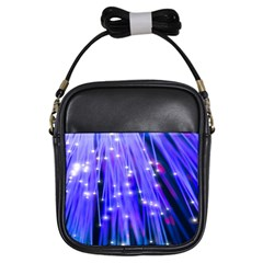 Neon Light Line Vertical Blue Girls Sling Bags by Mariart
