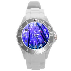 Neon Light Line Vertical Blue Round Plastic Sport Watch (l) by Mariart